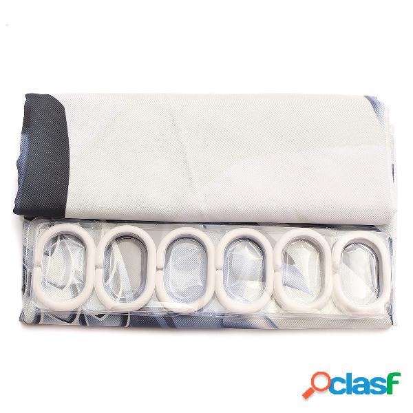 Tissu imperméable de salle de bains de rideau en douche de conception de moto de cube de l'eau 3d avec 12 crochets