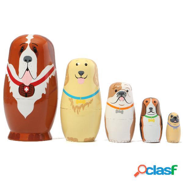 5 pcs russe en bois nesting poupées chiens matryoshka cadeau peint à la main tricky toys creative gift