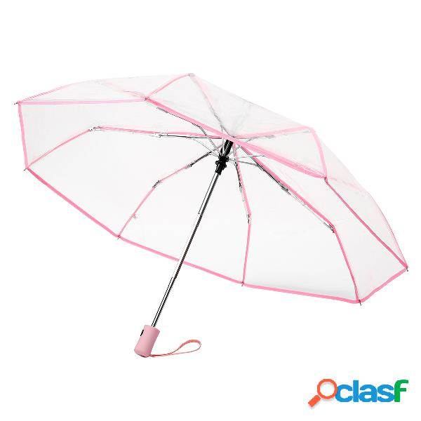 Parapluie pliable transparent à ouverture et fermeture automatique objet de pluie coupe-vent