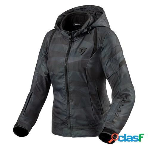 Rev'it! flare 2 lady, veste moto textile femmes, camo noir gris