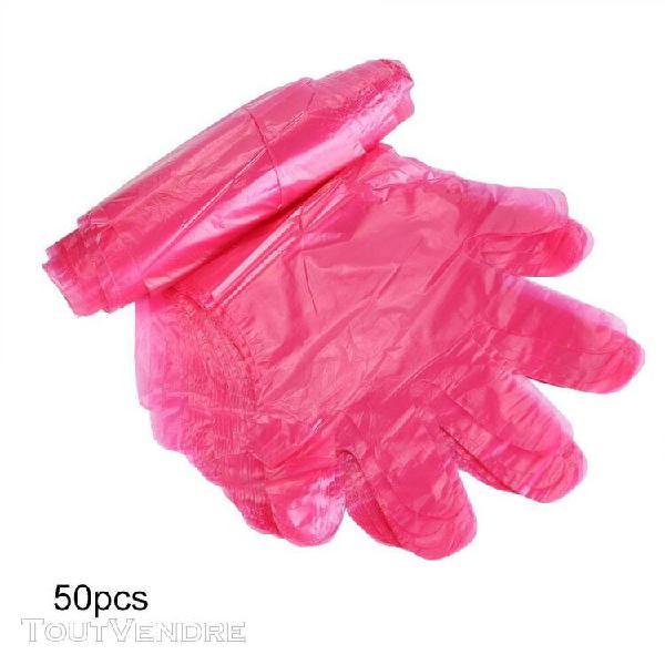50pcs/sac gants jetables en plastique à bras long pour