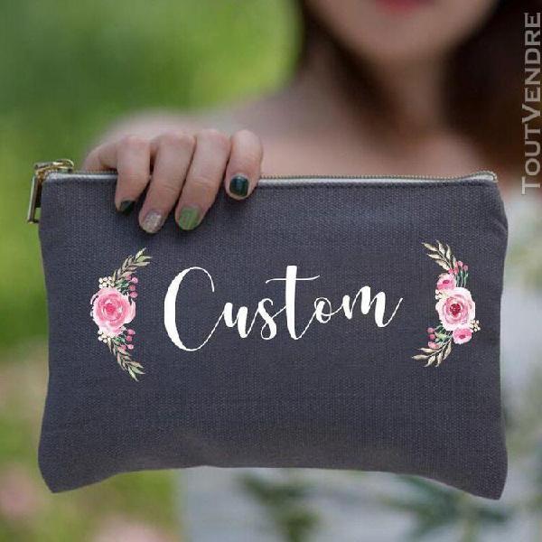 Sac cosmétique personnalisé d'automne sacs de mariage nom