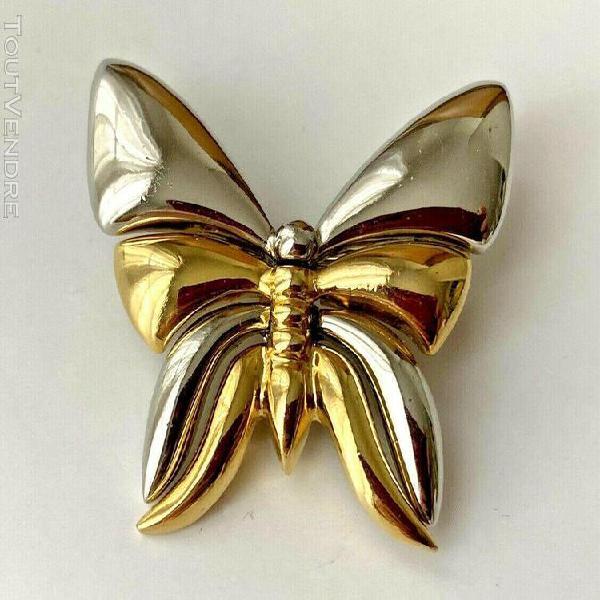 broche papillon vintage doré & argenté 4cm neuf