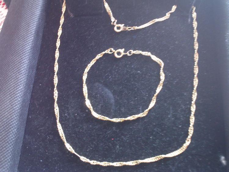 Parure neuve collier plus bracelet mailles torsadées n° 2