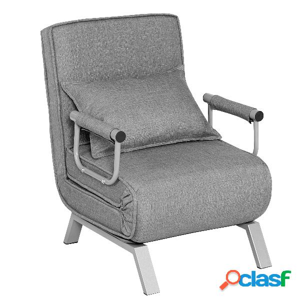 Costway canapé-lit fauteuil convertible fauteuil chauffeuse 1 place en tissu gris