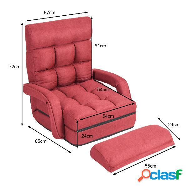 Costway fauteuil convertible chauffeuse convertible 1 place en tissu gris avec oreiller 5 positions rouge