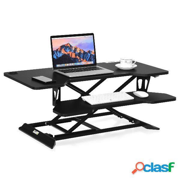 Costway bureau assis debout à hauteur réglable 13 5-52cm large elévateur plateau de clavier noir