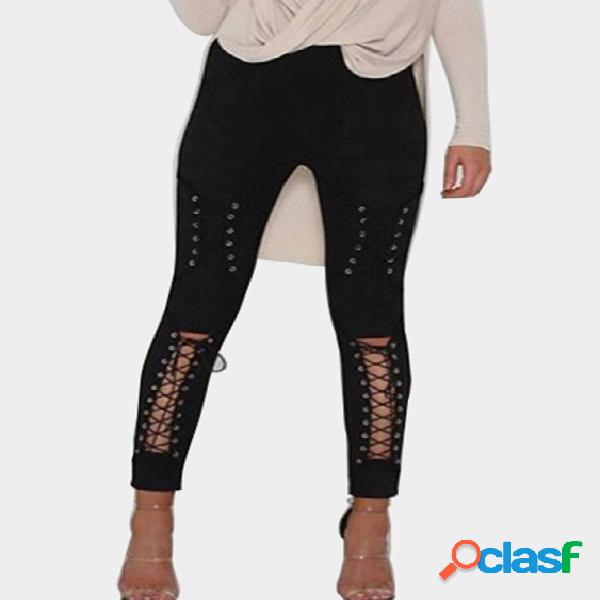 Black front cross lace up holes hollow out skinny pants