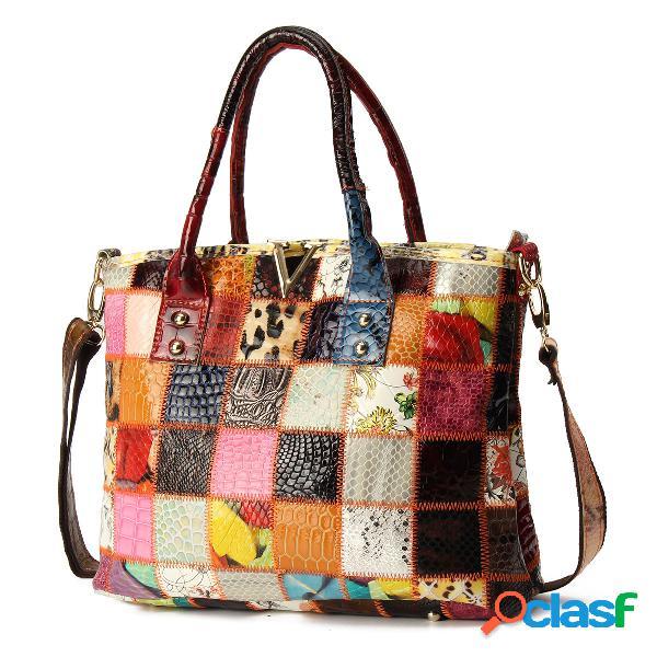 Sac à main vintage en cuir véritable à grande capacité en patchwork sac bandoulière pour femme