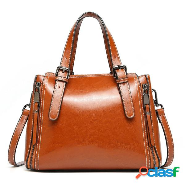 Sac à main rétro en cuir véritable pour femme oli wax crossbody bag