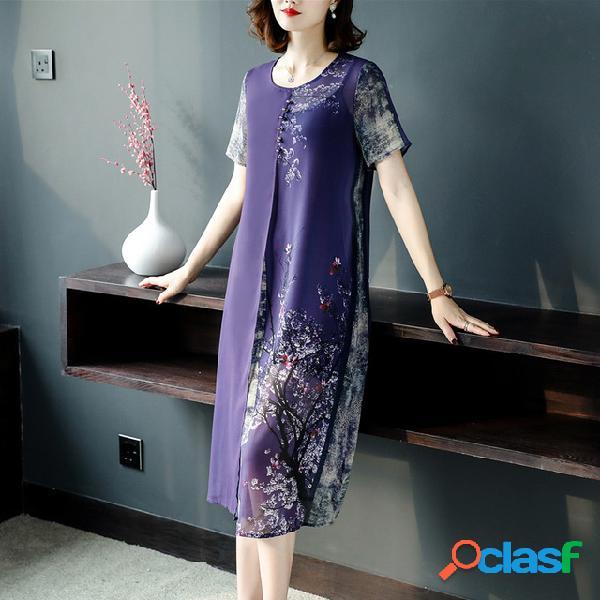 Hanfu amélioré de style chinois deux pièces de robes d'impression à froid