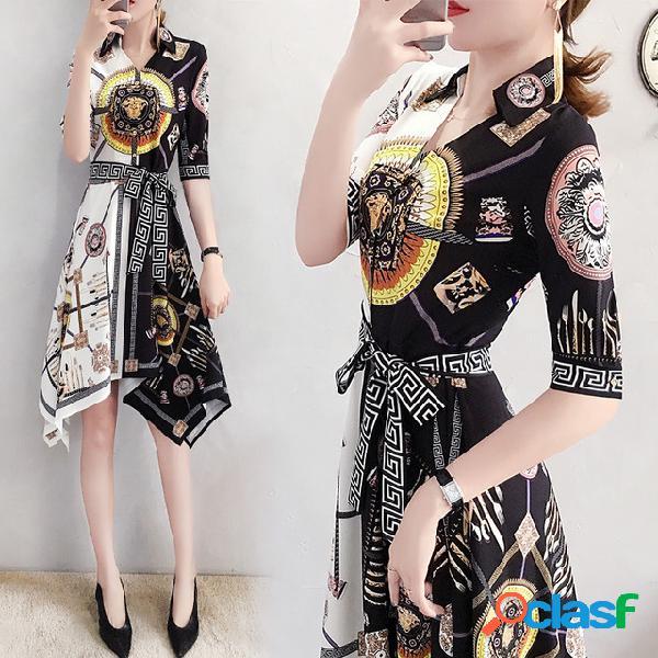 Style chinois chemise taille mince robe en mousseline imprimée rétro