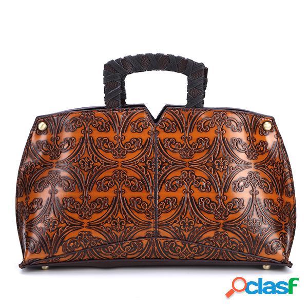 Sac à main d'épaule fait main de fleur de relief de sac à main vintage de cuir d'unité centrale de femmes