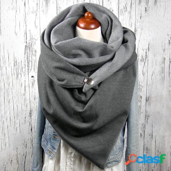 Écharpe châle chaude épaississante décontractée de couleur unie