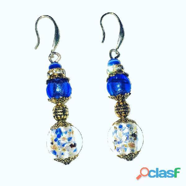 Boucles d'oreilles en perles de MURANO bleues et attaches en ARGENT