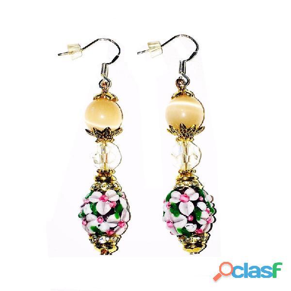 Boucles en perles de MURANO & attaches en ARGENT
