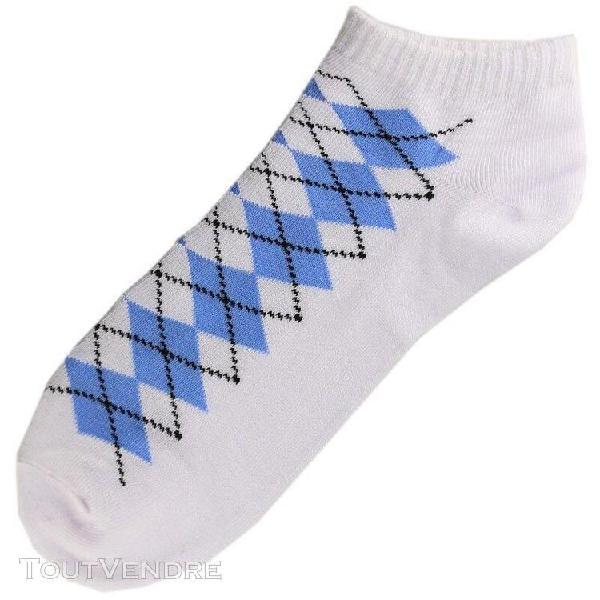 Pack de 3 paires socquettes coton ecossais homme t.u. blanc