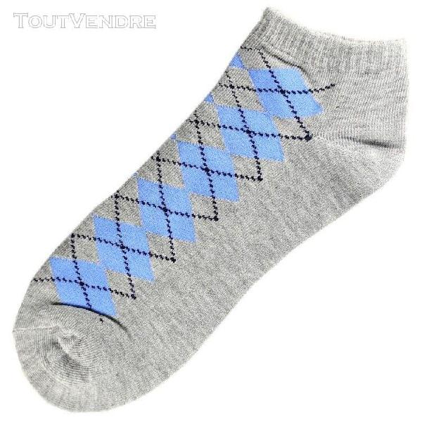 Pack de 3 paires socquettes coton ecossais homme t.u. gris