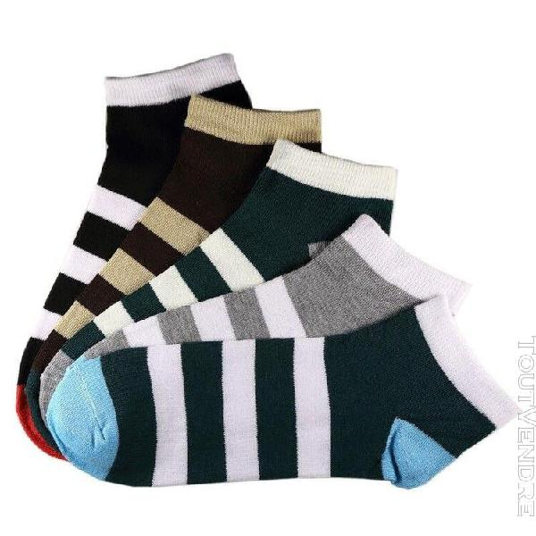 Pack de 5 paires socquettes assorties coton rayée homme