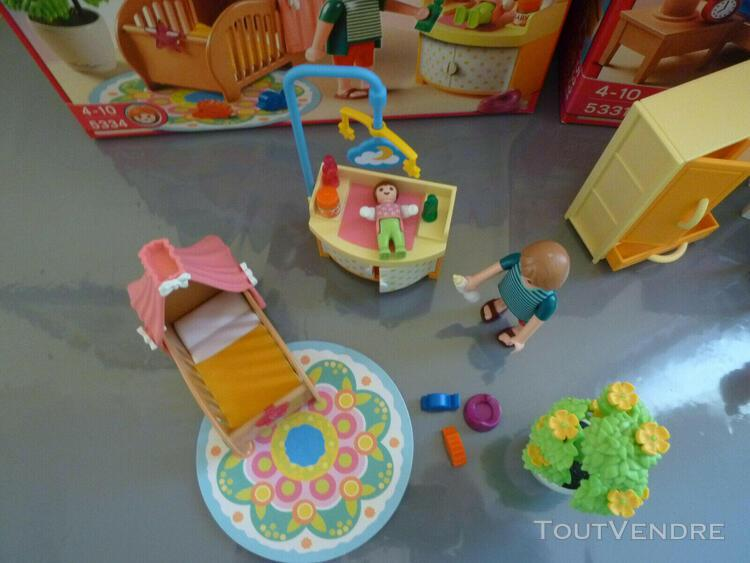 Playmobil meubles pièces maison - lot h boites chambres