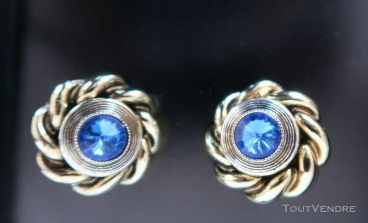 Clips / boucles d'oreille fantaisie bleu et or, légères et