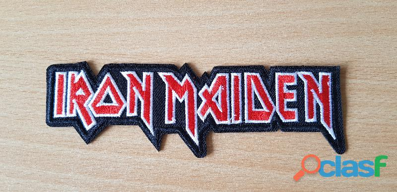 ecusson brodé groupe de metal iron maiden 15,5x5 cm thermocollant, pas besoin de couture