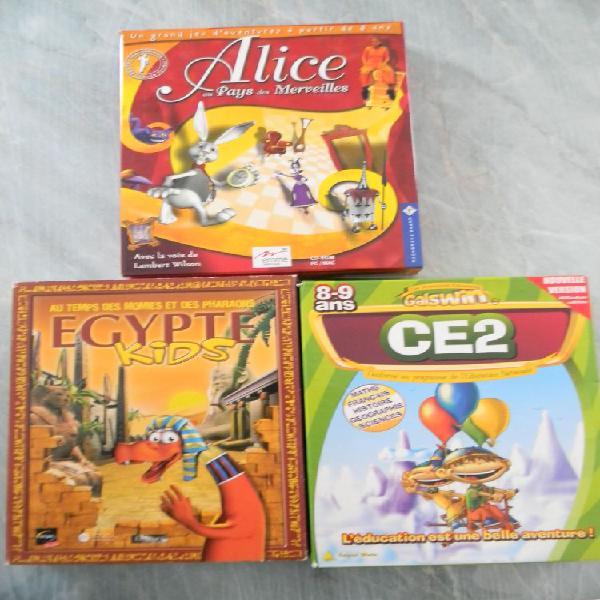 Lot de 3 cd de jeux pc/mac pour enfants pour windows et mac.