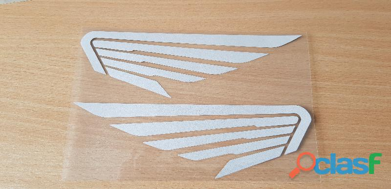 Paire d'autocollant sticker ailes honda gris réfléchissant 20x6 cm mots clés: honda, Honda, cb, c