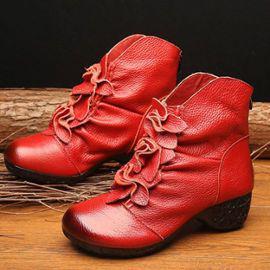 Bottines boots fourrées rouge cuir très originales talon 5