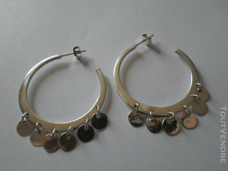 Boucles d'oreilles en argent massif, créoles; pendants