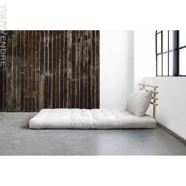 Matelas futon et tête de lit bois massif naturel 140x200