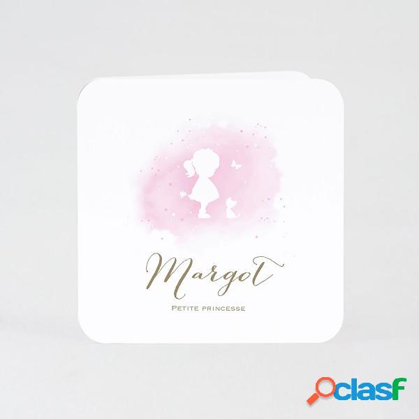 Faire part naissance aquarelle rose et silhouette | buromac 589045 (échantillon)