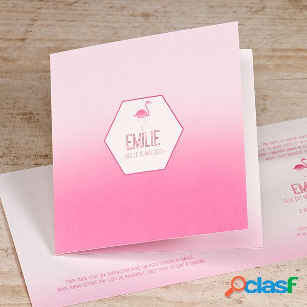 Faire part naissance flamant rose | buromac 589009 (échantillon)