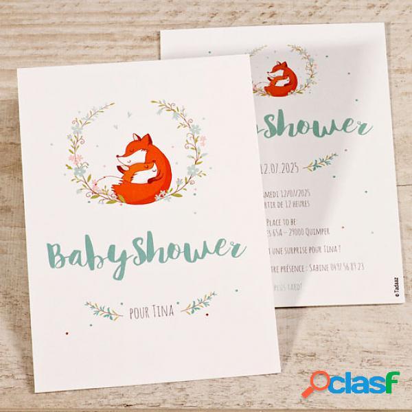 Invitation baby shower - invitation baby shower renard et couronne de fleurs (échantillon)