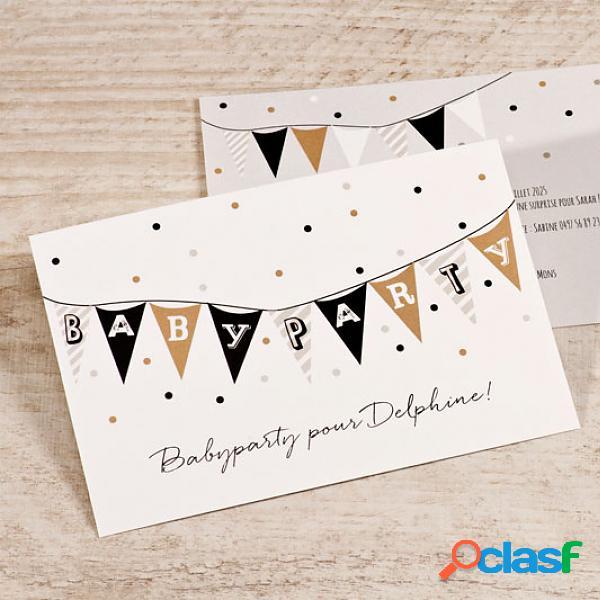 Invitation baby shower - invitation baby shower guirlande fanion et confettis (échantillon)