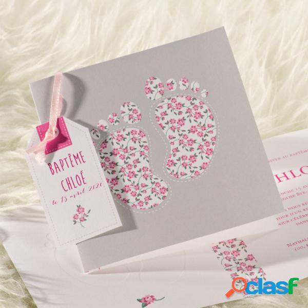 Faire-part naissance rose petons liberty | buromac 586036 (échantillon)