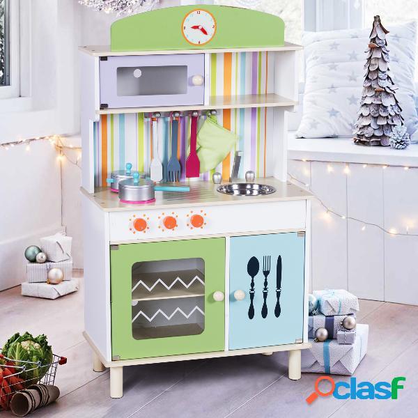 Cuisine pour enfant en bois cuisine de jouets cuisine de jeux cuisine éducatif rose vert -vert