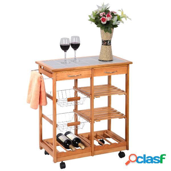 Costway chariot de cuisine desserte sur roulettes en bois de pin avec 2 paniers 2 tiroirs 2 etagères 67 x 37 x 76 cm couleur du bois