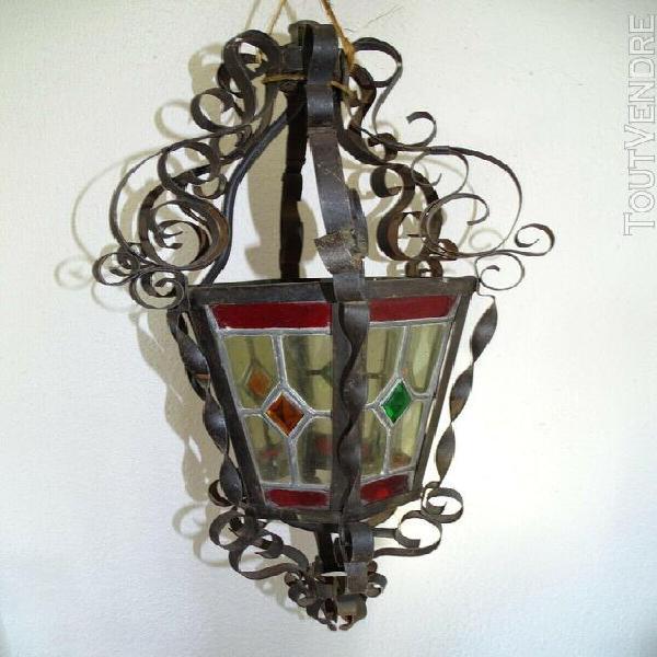 Ancienne lanterne fer forgé vitraux old lantern light