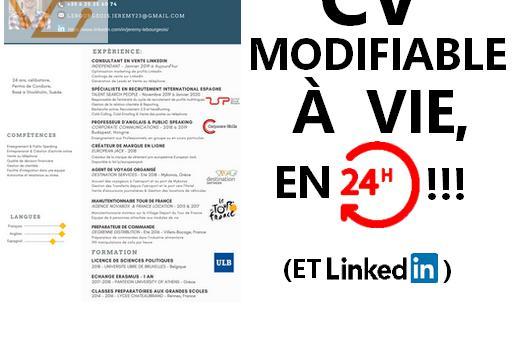 Cv modifiable à vie, incluant linkedin &...