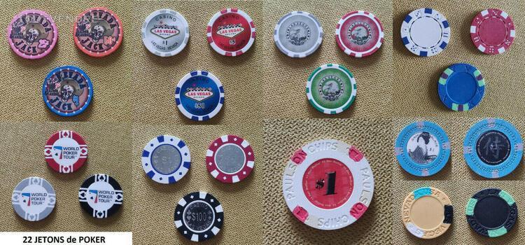 Lot de 22 jetons de poker américain no cash value sans