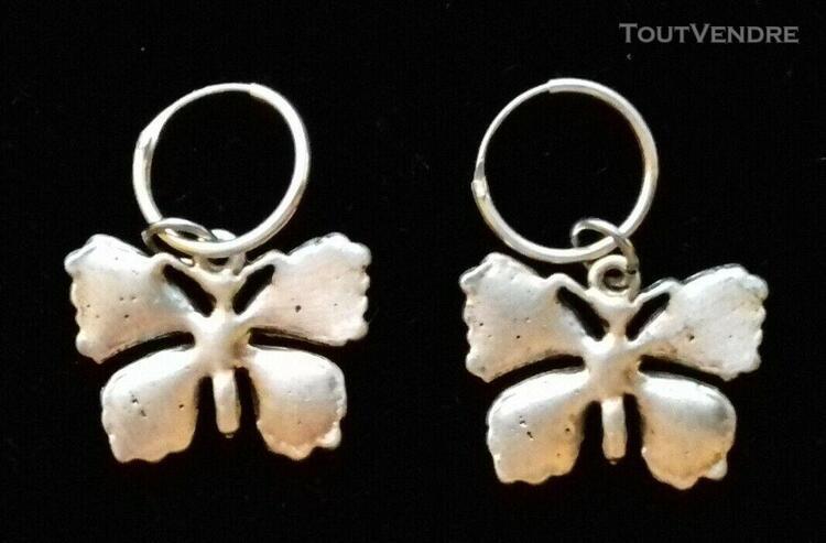 Papillon boucle d'oreille papillon sur anneau 12 mm en argen