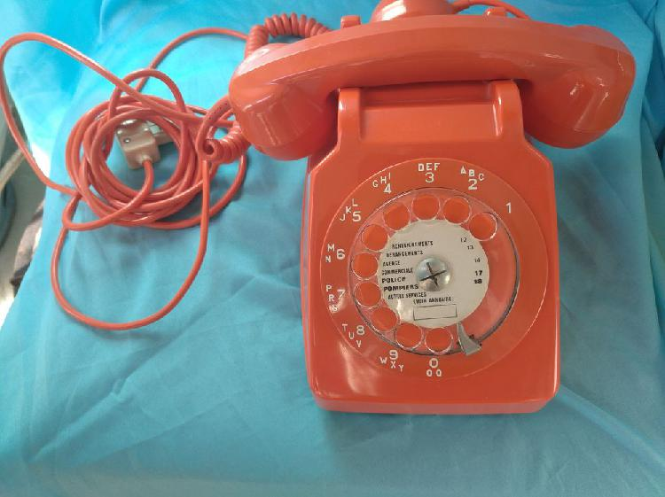 téléphone à cadran s63 vintage orange 1980 occasion,