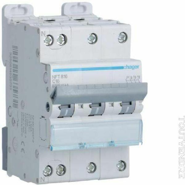 Hager nft816 disjoncteur 3p+n 6-10ka courbe c - 16a 3 module