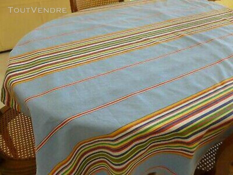 Nappe tissu basque coton bleu avec rayures bayaderes 140 cm