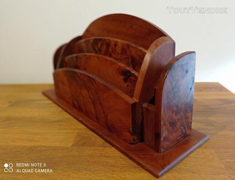Porte-lettres en bois art déco vintage pour bureau