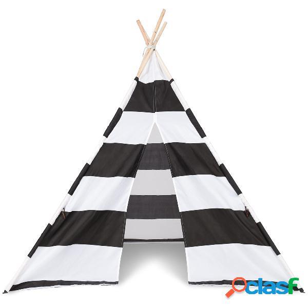 Tente jeu pour enfants pliable blanc et noir 160 * 120 * 120 cm en bois et tissu tente de jeu pour intérieur et extérieur