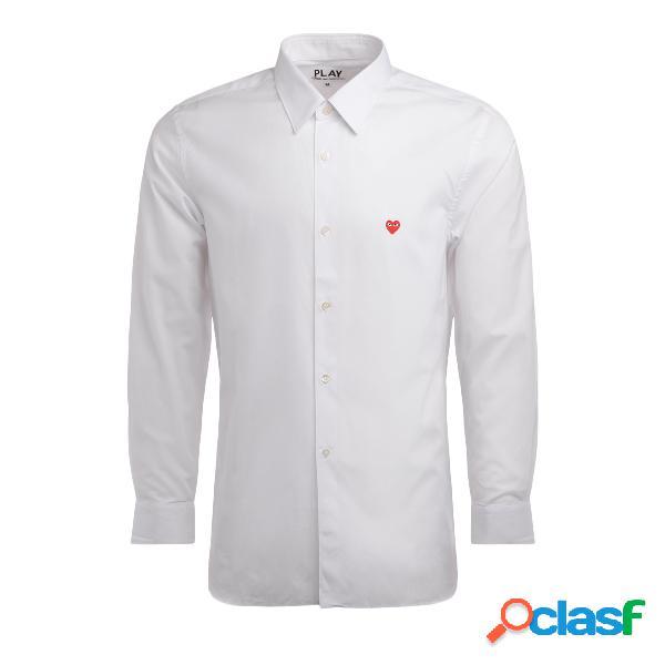 Chemise homme comme des garcons play en coton blanc avec un mini-cœur