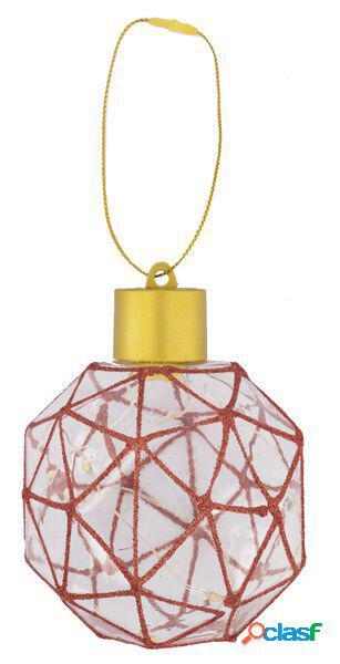 Hema boule de noël led géométrique rouge (rouge)