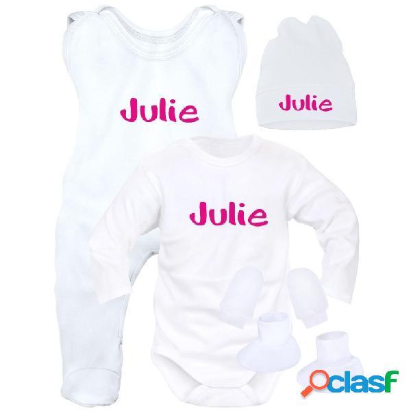 Ensemble naissance bébé fille avec prénom de bébé (5 pièces + sachet gratuit) - blanc (moufles et chaussons blancs) 0-1 mois